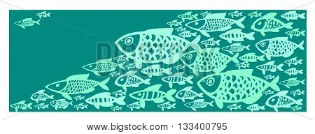 illustration shoals of fish in the water