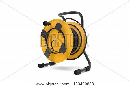 Electrical cable extension reel isolated on white background. 3d rendering