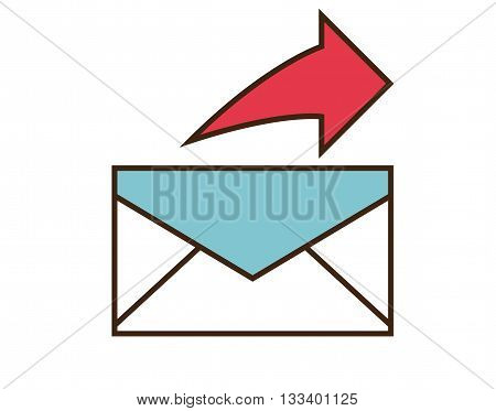 Send mail icon. Vector e-mail button isolated on white background