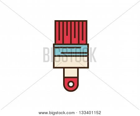 Paint brush icon. Vector button isolated on white background