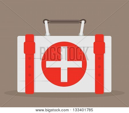 First aid kit. Medical case. Vector illustration