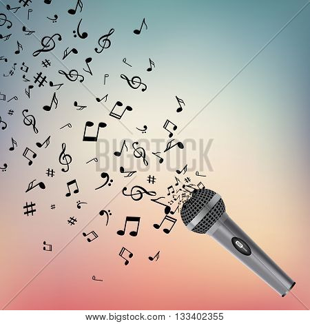 Abstract music background with notes and microphone. Musical backdrop. Music Notes isolated. Music microphone object.