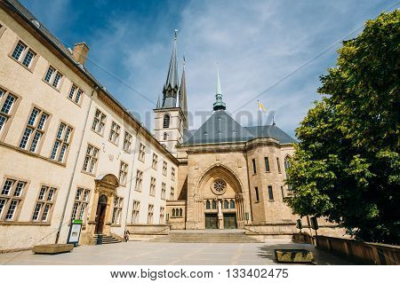 LUXEMBOURG, LUXEMBOURG - JUNE 17, 2015: Notre-Dame Cathedral Luxembourg is the Roman Catholic Cathedral. Grand Duchy of Luxembourg. It was originally a Jesuit church and its cornerstone was laid in 1613.