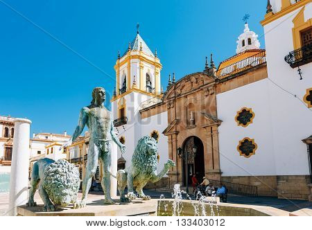 Ronda, Spain - June 19, 2015: Fountain in Plaza Del Socorro Church In Ronda, Spain. Nuestra Senora del Socorro. Old Spanish Town