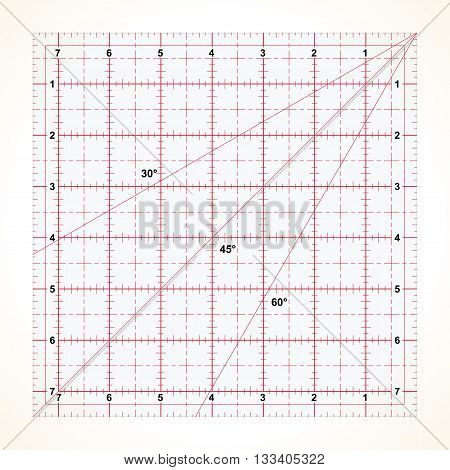 Square transparent ruler for quilting with inches scale vector illustration