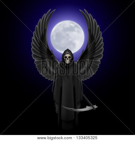 Grim Reaper with two wings up over full moon background