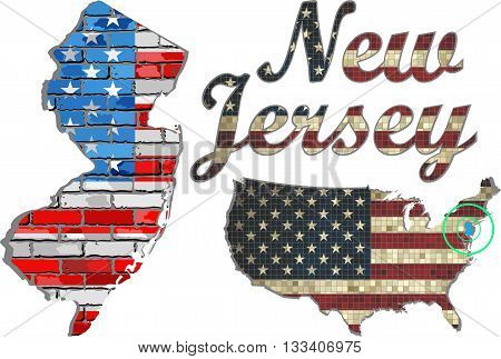 USA state of New Jersey on a brick wall - Illustration, The flag of the state of New Jersey on brick textured background,  New Jersey Flag painted on brick wall, Font with the United States flag,  New Jersey map on a brick wall