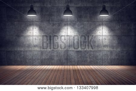 Empty room with lamps. wooden floor and concrete tiles wall background. 3d rendering