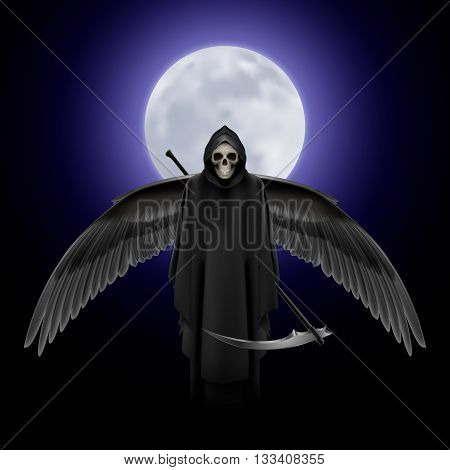 Grim Reaper with huge wings over full moon background