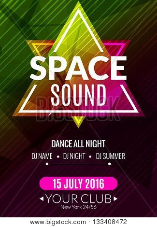 Club electronic space sound music poster. Musical event DJ flyer. Disco trance sound. Night party.
