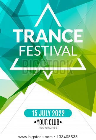 Club electronic trance festival music poster. Musical event DJ flyer. Disco trance sound. Night party.