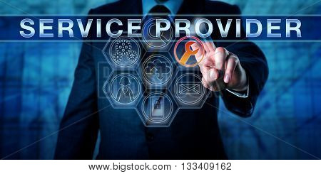 Corporate manager is pressing SERVICE PROVIDER on an interactive touch screen interface. Business model metaphor and information technology concept for a supplier of outsourced managed services.