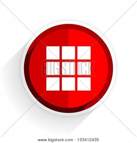 thumbnails grid icon, red circle flat design internet button, web and mobile app illustration