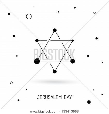 The symbols of Israel the star of David and menorah. Vector image done in a linear style