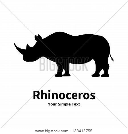 Vector illustration of a silhouette of a rhino standing on isolated white background. Rhinoceros side view profile.