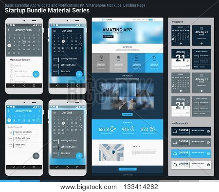 Material design responsive pixel perfect UI mobile calendar app, widgets and notifications kit, smartphone mockups and website landing page template with trendy blurred header background. Startup Bundle Material Series