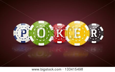 Poker chips with word POKER. Casino concept of colorful chips