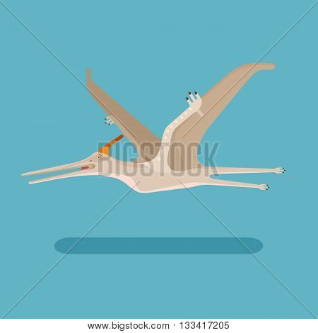 Pterodactyl icon. Prehistoric carnivore dinosaur. Extinct animal. Jurassic monster trendy flat vector illustration.