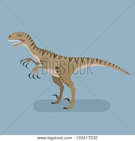 Monster Utahraptor icon. Extinct carnivore animal. Agressive spiny lizard. Prehistoric dinosaur. Trendy flat vector illustration.