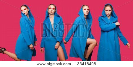 Collage of fashion beautiful sexy woman model with creative make-up in long coat on colorful background
