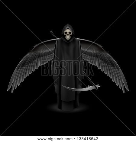 Grim Reaper with huge wings over black background