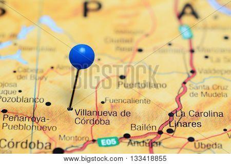 Villanueva de Cordoba pinned on a map of Spain