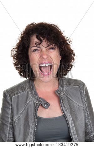 Furious Brunette Woman Screaming Isolated On White