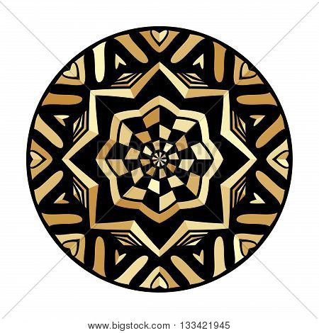 Round golden boho label. Gold gamut decorative icon. Ornate element ethnic pattern. Tribal ornament for tattoo or brand. Isolated design symbol. Vector illustration.