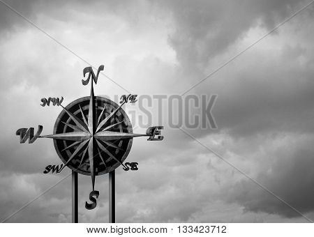 Compass background concept as a business exploration symbol and navigation icon with a blank empty sky for copy space with 3D illustration elements.