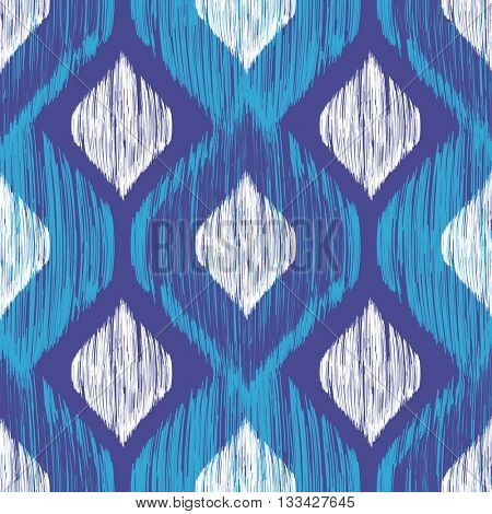 Ethnic modern tribal ikat blue, white and navy fashion seamless pattern. Vector ikat background