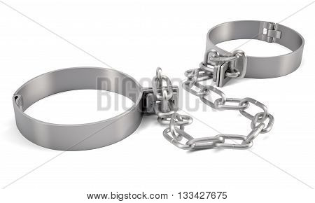 Rendered handcuffs isolated on white background, 3d rendering
