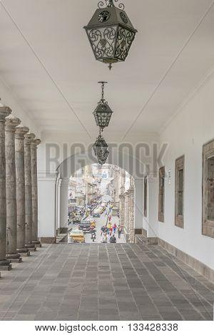 QUITO, ECUADOR, OCTOBER - 2015 - Detail view of passage at Carondelet palace government in Quito Ecuador