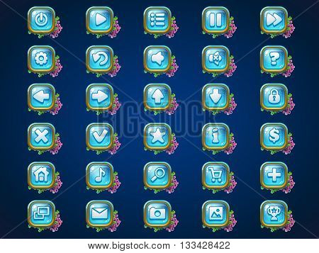 Set buttons on Atlantis riuns game user interface background for web video game poster
