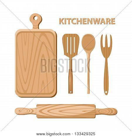Set of wooden kitchen utensils. Kitchenware. Vector illustration.