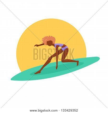 Surfer girl riding a surfboard. Vector illustration.
