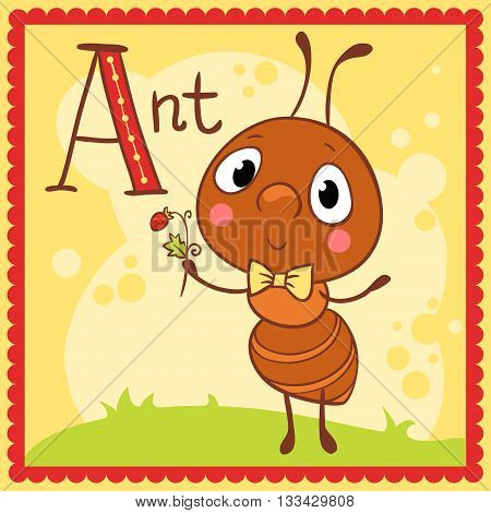 Illustrated alphabet letter A and ant. Animals.