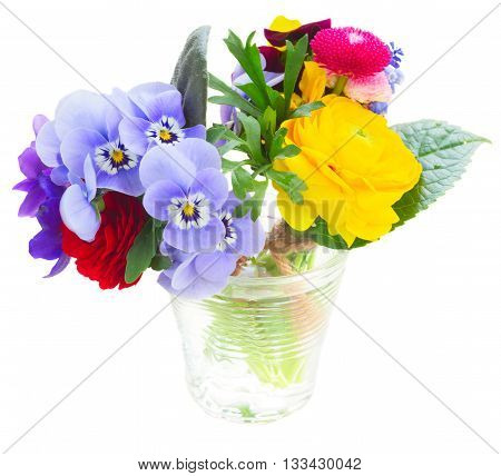 Bunch of violets, pansies, daisies and ranunculus isolated on white background