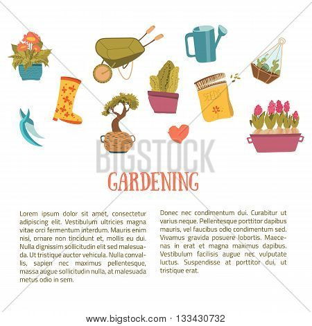 Gardening background items in cartoon style. Plants in pots, scissors, seeds, boots