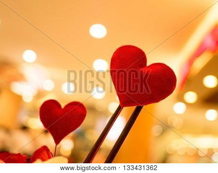 Heart. Red hearts in blurred vintage background. Love valentine concept. (Selective focus)