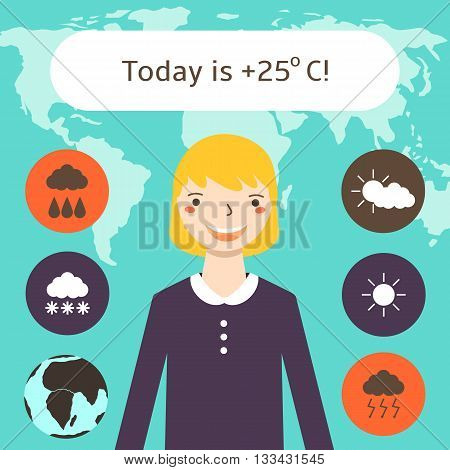 Cute flat style weather forecast background with pretty blonde woman world map weather icons. Weather forecast card with text space. Elements of this image furnished by NASA