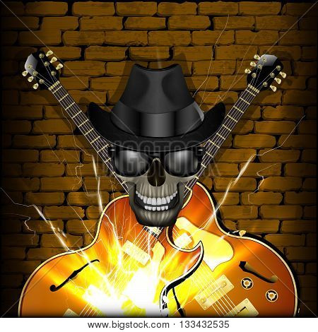 Vector illustration of a skull wearing a hat with a jazz guitar on the brick wall background. Blackout on the sides allow the use of any image on a black background.