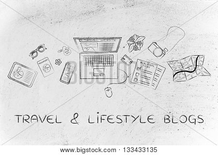 Travel & Lifestyle Blogger Desk With Laptop