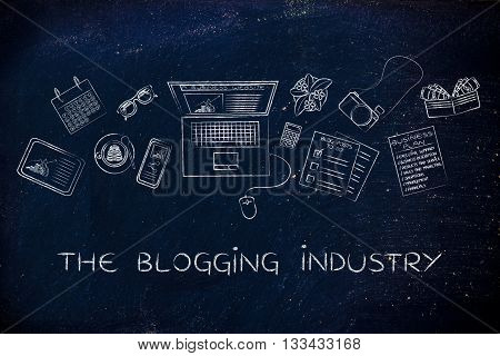 Business & Finance Blogger Desk With Laptop, The Blogging Industry