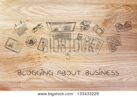 Business & Finance Blogger Desk With Laptop, Blogging About Business