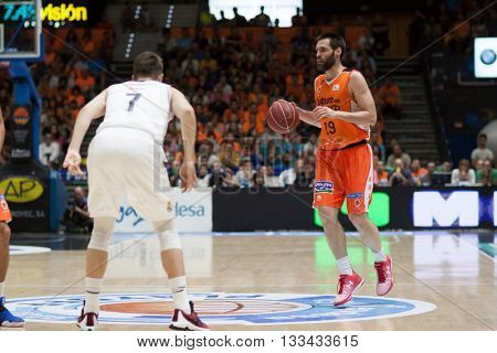 VALENCIA, SPAIN - JUNE 7th: San Emeterio with ball during 3rd playoff match between Valencia Basket and Real Madrid at Fonteta Stadium on June 7, 2016 in Valencia, Spain