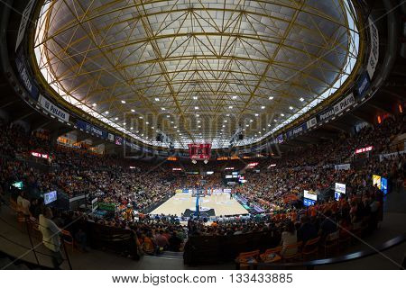VALENCIA, SPAIN - JUNE 7th: Fonteta Stadium during 3rd playoff match between Valencia Basket and Real Madrid at Fonteta Stadium on June 7, 2016 in Valencia, Spain