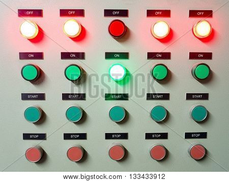 Red green and blue light led on electric Control Panel showing on/off status