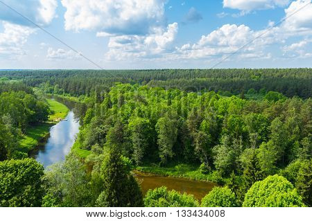 Areal view over the forest with a river