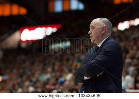 VALENCIA, SPAIN - JUNE 7th: Pablo Laso during 3rd playoff match between Valencia Basket and Real Madrid at Fonteta Stadium on June 7, 2016 in Valencia, Spain