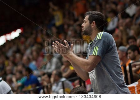 VALENCIA, SPAIN - JUNE 7th: Felipe Reyes during 3rd playoff match between Valencia Basket and Real Madrid at Fonteta Stadium on June 7, 2016 in Valencia, Spain